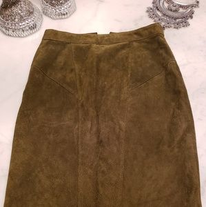 Suede Olive Pencil Skirt